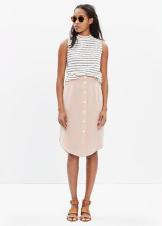 Silk Island Button-Front Skirt