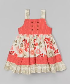Love this Gray Floral Button Dress - Toddler & Girls by Smartie Britches on #zulily! #zulilyfinds