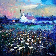 John Lowrie Morrison OBE - Evening Gloaming Isle of Gigha Watercolor Landscape, Abstract Landscape, Landscape Paintings, Uk Landscapes, Outdoor Wall Art, Pallet Painting, Sketch Painting, Winter Landscape, Texture Painting