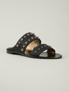 Black leather two-tone studded sandals from Lanvin