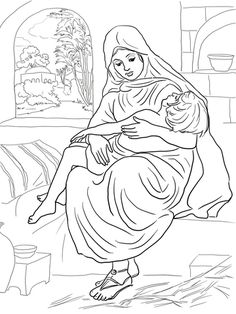 Shunammite Woman and Her Son Coloring page