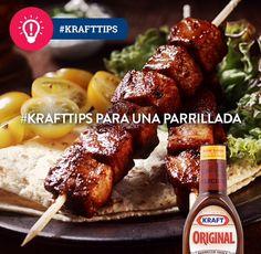 Los pedazos más pequeños, se deben asar insertados en brochetas y con salsa BBQ para un mejor sabor. #KraftRD #KraftTips