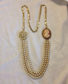 Pearl and Cameo Necklace from Upcycled Vintage by heartsoftoday, $40.00