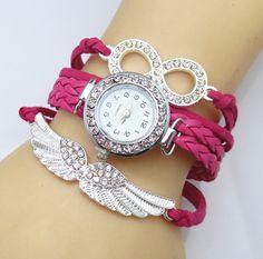 New Fashion 8 Letter Wing Bracelet Watch Women Rhinestone Leather Strap Quartz Dress Watches Ladies Wristwatches White Hot