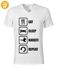 Eat Sleep Karate Repeat Martial Arts Graphic Men's V-Neck T-shirt Small (*Partner-Link)