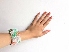 Bracelet manchette coloré effets Corail fils Menthe Saumon