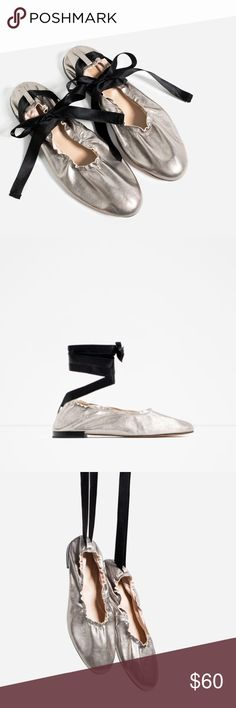 Zara Lace Up Ballet Leather Flats Stunning, goat leather lace-up ballet flats. Zara Shoes Flats & Loafers