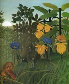 Henri Rousseau - Art Naïf - Naive Art - The Repast of the Lion - Detail Henri Rousseau, Wildlife Paintings, European Paintings, Art Abstrait, Naive Art, Outsider Art, Art Plastique, Teaching Art, Artist At Work