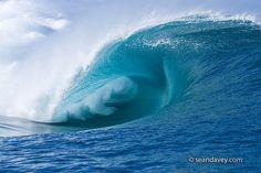 A huge perfect tubing wave at Teahupoo, in Tahiti. by Sean Davey Photography, via Flickr