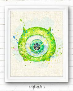Mike Wazowski Monsters University Art Print by NeighborArts Disney Monsters, Monsters Inc, Arte Disney, Disney Art, Watercolor Disney, Watercolor Art, Pinturas Disney, Mike Wazowski, Tsumtsum