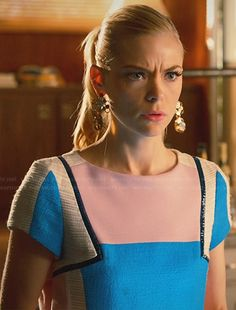 Lemon's pink and blue colorblock dress with leather trim on Hart of Dixie.  Outfit Details: http://wornontv.net/31859/ #HartofDixie