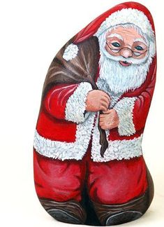 """Santa"" hand painted on stone by Ernestina Gallina, Pietrevive  https://www.facebook.com/pietrevive.ernestina"