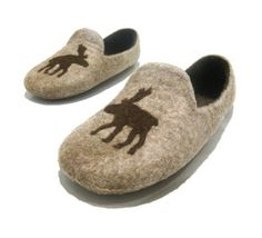 Felted mens slippers Hunting time by FeltingbyEglut on Etsy, $60.00