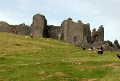 """Carreg Cennen Castle, Trapp, Wales - In Welsh, Castell Carreg Cennen means, """"castle on the rock,"""" which is appropriate considering its roost on a limestone cliff. The surrounding countryside is home to more castles per square mile than anywhere else in the world, but -- despite being the only one in ruins - Carreg Cennen is considered the finest for its view of the rolling green fields and moorland. -  thrillist.com - 2-29-16"""