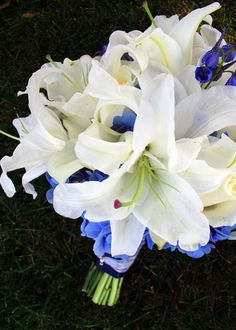 wedding bouquet white blue bouquet lilies by kiokreations Wedding Flower Guide, Blue Wedding Flowers, White Wedding Bouquets, Bridal Flowers, Flower Bouquet Wedding, White Flowers, Bridal Bouquets, Wedding Events, Our Wedding