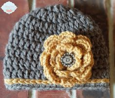 READY TO SHIP Gray and Yellow Baby Girl Hat by TheStitchingSirkel
