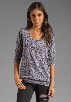 Monrow Leopard Print Boyfriend Sweatshirt in Purple Haze at Revolve Clothing - Free Shipping!