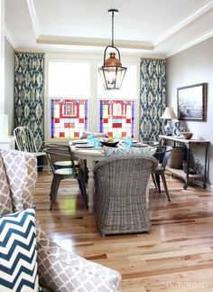 eclectic dining room - The Inspired Room  Love the wicker on the ends!!!