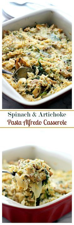 Spinach and Artichoke Pasta Alfredo Casserole – Delicious vegetarian dinner with Spinach, Artichokes and Orzo pasta mixed in a lightened-up, homemade Alfredo Sauce.