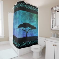 African Acacia Tree Farmer Twilight Shower Curtain Zazzle Com Acacia Curtains For Sale Twilight