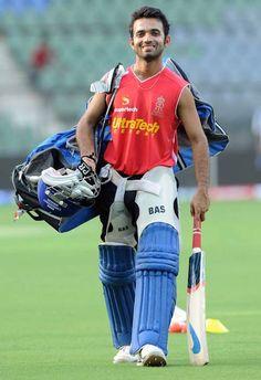Indian cricketer, Ajinkya Rahane after practice session...