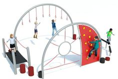 Trim trail units for playgrounds crafted from strong structural steel and offering varied physical challenges. Urban Ideas, Kindergarten Design, Playground Design, Play Equipment, Backyard For Kids, Baby Play, Outdoor Fun, Kids Playing, Children