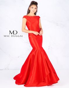 Red off the shoulder, satin, mermaid prom gown. Also available in a Midnight Blue version. Mermaid Gown Prom, Mac Duggal, Prom Dresses, Formal Dresses, Midnight Blue, Formal Wear, Off The Shoulder, Satin, Gowns