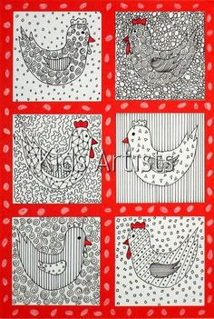 Benodigdheden: white drawing sheet piece of cardboard black fine marker red marker scissors and glue Cut a piece of cardboard from 7 by 7 . Easter Art, Easter Crafts, Artists For Kids, Art For Kids, Drawing Sheet, Student Drawing, Chicken Art, Chicken Crafts, Spring Art