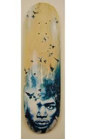 It's sad to think the world lost such a great artist so early in his career. The artist tries to illustrate by having a forest emerge from his mind as a flock of birds fly free to the upper edges of the board, representing both hendrix's soul and musical talent.