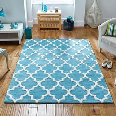 Grant Hand-Woven Teal Rug