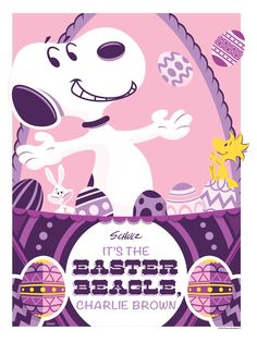 """""""It's the Easter Beagle, Charlie Brown"""" Limited Edition of 50 Variant Print/ 5 Wood Edition by Jayson Weidel. On Sale Tuesday, April 8, 2014 at Dark Hall Mansion: DarkHallMansion.com."""