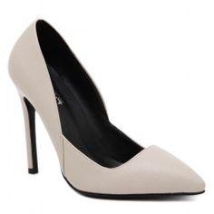 Stiletto Heel PU Leather Pointed Toe Pumps - Apricot 38 Stiletto Heel Medium(B/M)