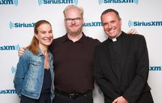 Paulist Fr. Dave Dwyer at studios of The Catholic Channel on SiriusXM with Jim and Jeannie Gaffigan.