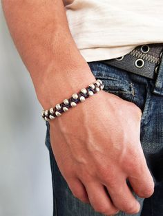 Woven Leather Bracelet for Men /  Women - Braided Leather with Sterling Silver