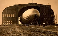 Launch of the Graf Zeppelin at Friedrichshafen am Bodensee, Germany, in September 1928. During its operating life, (1928 - 1937) the airship made 590 flights covering more than a million miles (1.6 million km). It was designed to be operated by a crew of 36 officers and men.