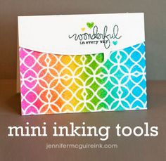 Video tutorial and the difference between Tim Holtz blending tool and new mini ink blending tool. Very informative. Jennifer McGuire