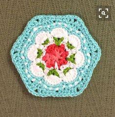 """The Cath Kidston granny, in robin's egg blue. Crochet Afghans, Crochet Motifs, Crochet Granny, Crochet Doilies, Crochet Flowers, Crochet Patterns, Crochet Home, Love Crochet, Beautiful Crochet"