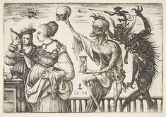 Daniel Hopfer (German, 1471–1536). Woman and Attendant Surprised by Death, 1500–1510 (?). The Metropolitan Museum of Art, New York. The Elisha Whittelsey Collection, The Elisha Whittelsey Fund, 1951 (51.501.383) #halloween