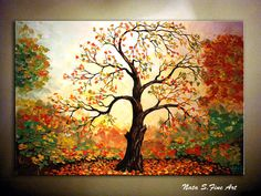 "Original Abstract Large Art Painting.Impasto.Palette Knife.Landscape,Autumn Painting.Old Tree.Fall.Leaves.Home Decor 36""   - by Nata S. on Etsy, $385.00"