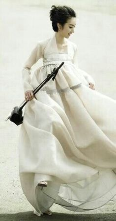 Modern #Hanbok, traditional Korean dress with white semi #jeorgori & white #chima