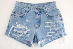 Studded Shorts, Vintage Distressed High Waisted Denim, Upcycled W26. $49.99, via Etsy.