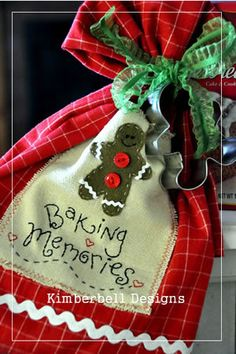 """Baking Memories"" Tea Towel & Gingerbread cookie cutter ...Cute!!....<3"