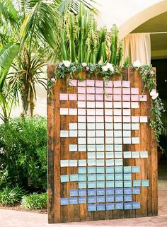 LB Event Planning | colorful and ombre inspired seating chart