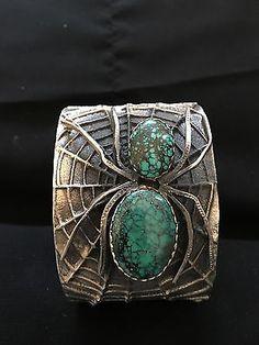 VINTAGE Navajo Sterling Silver Spiderweb Turquoise Tufa Cast Spider Bracelet