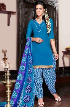 USD 30.25 Sky Blue Cotton Satin Punjabi Suit 47620