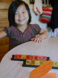 cute scrabble nameplate