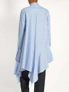 Palmer//harding Asymmetric ruffled-hem cotton shirt