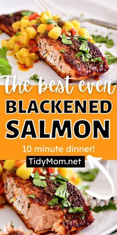 BLACKENED SALMON is seasoned to perfection for a cajun spiced crust. Prepared on the grill the tender and flaky salmon fillets are served with a sweet mango salsa that results in an irresistible meal that cooks in 10 minutes. Print recipe at TidyMom.net #salmon #salmonrecipes #blackenedsalmon #fishdinner #fish #dinner #dinnerrecipes Prawn Recipes, Lobster Recipes, Pasta Salad Recipes, Fish Recipes, Seafood Recipes, Seafood Dishes, Best Side Dishes, Side Dish Recipes, Easy Dinner Recipes
