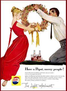 1957 Pepsi Cola Ad ~ Couple Hangs Christmas Wreath, Vintage Beverage Ads (Other) Christmas Reef, Modern Christmas, Retro Christmas, Christmas Wreaths, Christmas Pics, Christmas Holidays, Xmas, Retro Ads, Vintage Advertisements