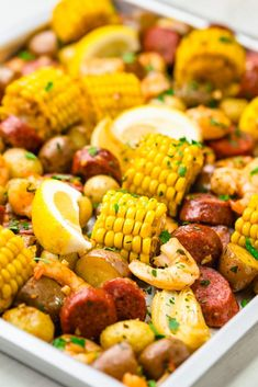 A sheet pan shrimp boil your classic shrimp boil cooked in the oven. - March 23 2019 at Shrimp Boil In Oven, Shrimp And Crab Boil, Seafood Boil Recipes, Seafood Dishes, Sausage And Shrimp Recipes, Cajun Seafood Boil, Boiled Food, Cooking Recipes, Healthy Recipes